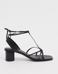 & Other Stories leather square toe sandal with round heel in black / strappy sandals