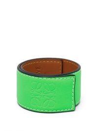 LOEWE PAULA'S IBIZA Anagram-debossed leather slap bracelet in neon-green