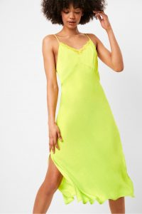 French Connection ANDELA SATIN NEON LACE TRIM SLIP DRESS in Lime Punch