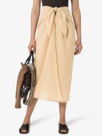Anemone Wrap Front Midi Skirt Beige