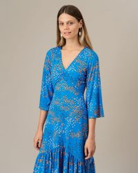 JIGSAW ANIMAL FLORAL RUCHED TIER DRESS AZURE BLUE / dress-up or down clothing