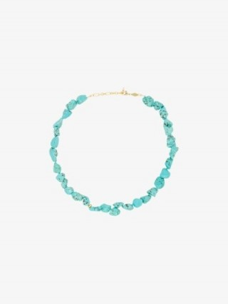 Anni Lu 18K Gold-Plated Beach Cocktail Turquoise Necklace / blue stone necklaces
