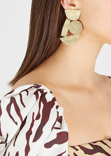 ANNIE COSTELLO BROWN Masha gold-plated drop earrings / large geometric drops