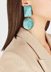ANNIE COSTELLO BROWN Overt cyan patina drop earrings / glamorous geo shape drops
