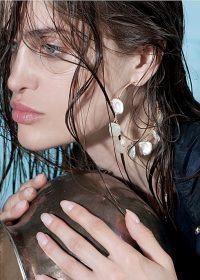 APPLES & FIGS 24k gold vermeil petal pearl hoops ~ large hoop earrings