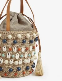 ARANAZ Octo shell raffia bucket bag / seashell embellished summer bags