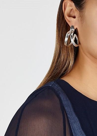 ARIANA BOUSSARD-REIFEL Double Kiki sterling silver hoop earrings / textured double split hoops