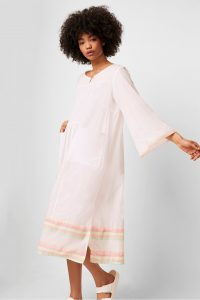 French Connection ARINA EMBROIDERED SMOCK DRESS WHITE MULTI | lightweight day dresses