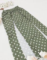ASOS DESIGN beach co-ord in khaki spot / crop top & skirt set / beachwear