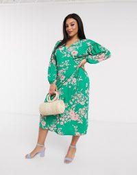 ASOS DESIGN Curve wrap midi tea dress with bright floral – green & pink plus size dresses