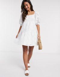 ASOS DESIGN embroidered lace mini smock dress in white – square neck dresses