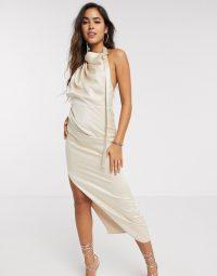 ASOS DESIGN halter drape detail midi dress with buckle in satin sand