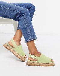 ASOS DESIGN Hannah suede flatform espadrilles in pastel green / peep toe espadrille slingbacks
