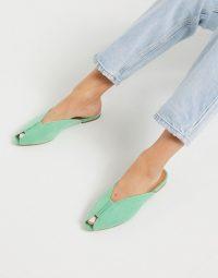 ASOS DESIGN Lido peep toe ballet flats in mint green