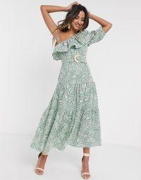 ASOS DESIGN one shoulder broderie ruffle maxi dress with raffia belt in sage green