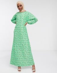ASOS DESIGN plisse maxi dress with long sleeves in green floral