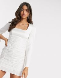 ASOS DESIGN ruched mini dress with satin top and split sleeve in ivory – LWD