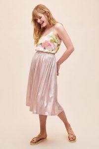 Lolly's Laundry Metallic Midi Skirt in Rose