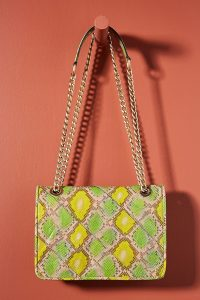 Naja Snake-Print Shoulder Bag in Yellow ~ Anthropologie bags