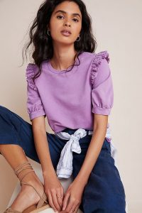 Eri + Ali Maeza Eyelet-Detailed Sweatshirt Violet – frill shoulder-detail top