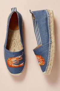 Castañer Kenda Embroidered Espadrilles Denim Medium Blue / shrimp printed summer flats