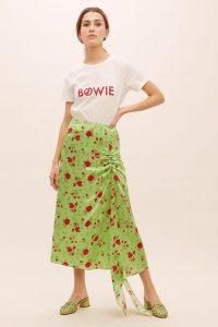 De La Vali Caroline Floral-Print Skirt Lime | green ruched detail skirts