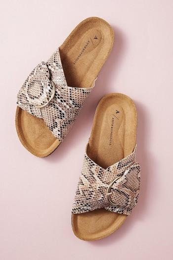ANTHROPOLOGIE Amy Buckle Sandal Brown Motif / python print sandals