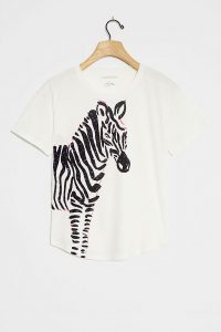 ANTHROPOLOGIE Zebra Graphic Tee White