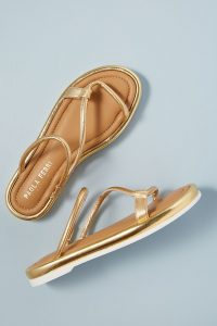 Paola Ferri Leather Loop Strap Sandals in Gold