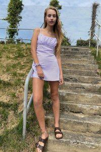 Urban Renewal Inspired By Vintage Jessie Lilac Dress – skinny shoulder strap mini