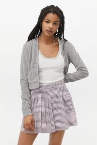 UO Checked Pleated Kilt Mini Skirt in Lilac