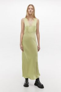 UO Kay Slip Midi Dress in Lime