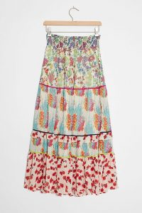 ANTHROPOLOGIE Faaria Tiered Maxi Skirt / mixed print summer skirts