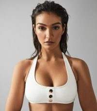 Reiss BAILEY HALTER NECK BIKINI TOP WITH BUTTON DETAIL WHITE ~ halterneck bikinis