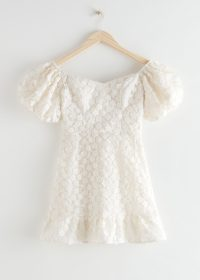 & other stories Balloon Sleeve Lace Mini Dress White