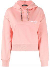 BALMAIN pink logo-print drawstring hoodie