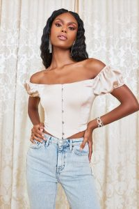 lavish alice bardot puff sleeve satin corset top in champagne | off the shoulder fitted tops