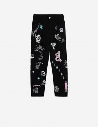 BARRIE Symbol-embroidered straight high-rise cashmere trousers