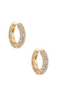 BaubleBar Carina Huggie Hoops | crystal covered hoop earrings