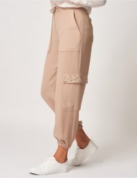 FOREVER UNIQUE Beige Cuffed Trousers With Pockets