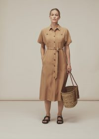 WHIISTLES MILITARY BELTED MIDI DRESS BEIGE / smart day dresses