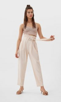 STRADIVARIUS Belted paperbag linen trousers salmon pink – high waisted summer pants