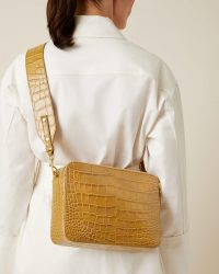 JIGSAW BENNIE CROC-EFFECT LEATHER BAG CAMEL