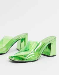 Bershka heeled mule with clear detail in green / transparent chunky heel mules
