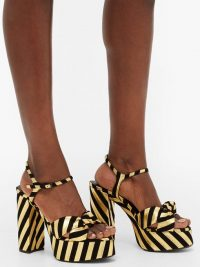 SAINT LAURENT Bianca striped leather and suede platform sandals in black and gold / retro glamour