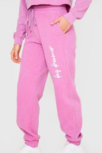 BILLIE FAIERS PINK 'DAY DREAMER' JOGGING BOTTOMS – slogan joggers