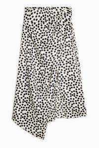Topshop Black And White Spot Print Sarong | mono asymmetric skirts