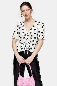 TOPSHOP Black And White Spot Ruched Top / front gathered tops