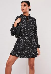 MISSGUIDED black polka dot high neck frill mini dress