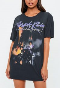 MISSGUIDED black prince purple rain graphic t shirt / printed tee